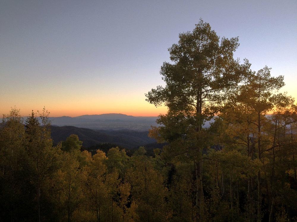 Sangre de Cristo Mountains. Sunset over Santa Fe.