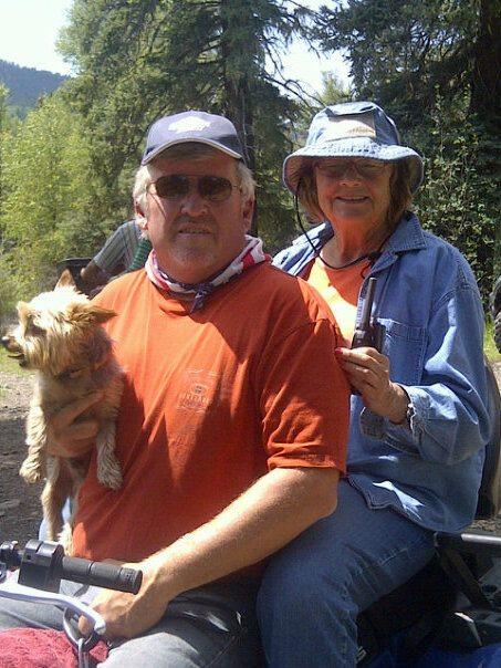 Paula's mom, Billie Stout along for an ATV ride with Cooper my buddy.