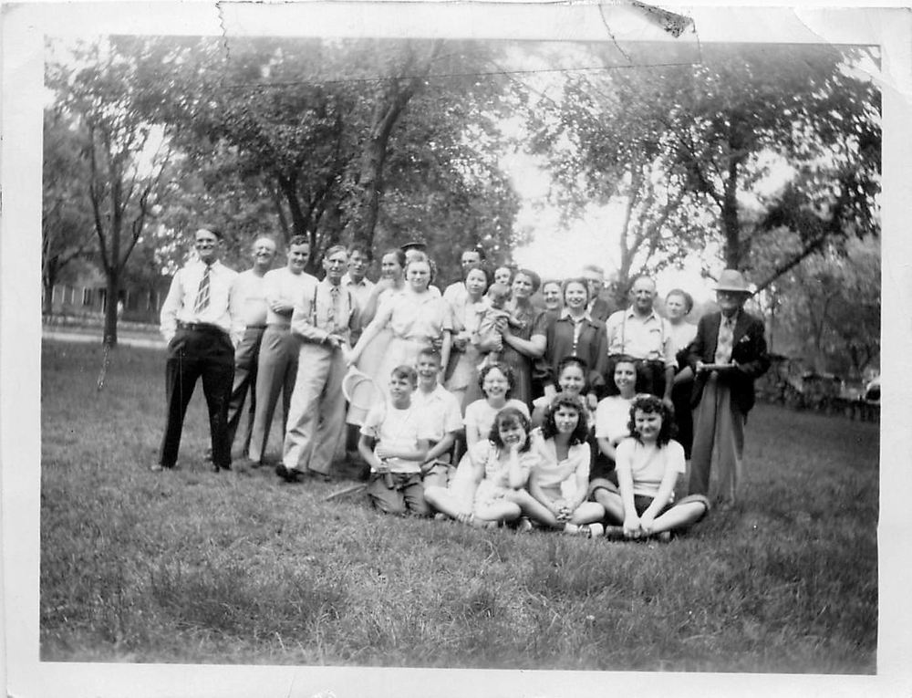 Great grandad Gillette on the far right. Bert, son on far left, twin Bill, 4th from left. Daugher Alice 6th from left, My grandfather who married into the family, 2nd from left, My grandmother Mabel Gillete, behind the baby's head peering over, My mother center first row seated, her sister big smile, second row 3rd from right, Glen Burnett, 3rd from left, married Mary Alice Gillette a daughter,