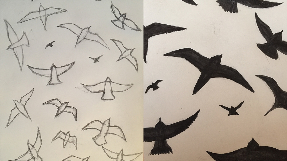 Pencil and ink for The Birds