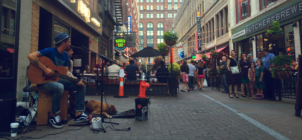 Fourth St, Cleveland. Home to a ton of great restaurants including Mabel's BBQ and Greenhouse Tavern.