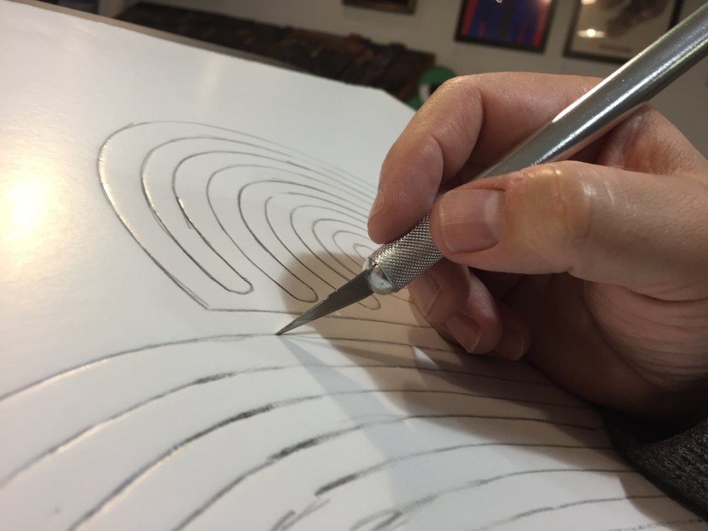 Carving out the film track in foamcore
