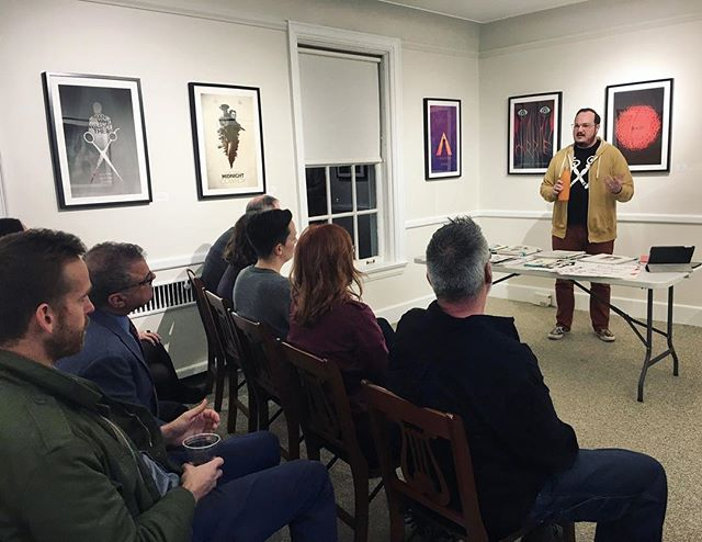 This happened last week and I'm just getting around to posting about it.  I had the great privilege to give a gallery talk about my poster work And had a blast! @waverly_small_works_gallery.