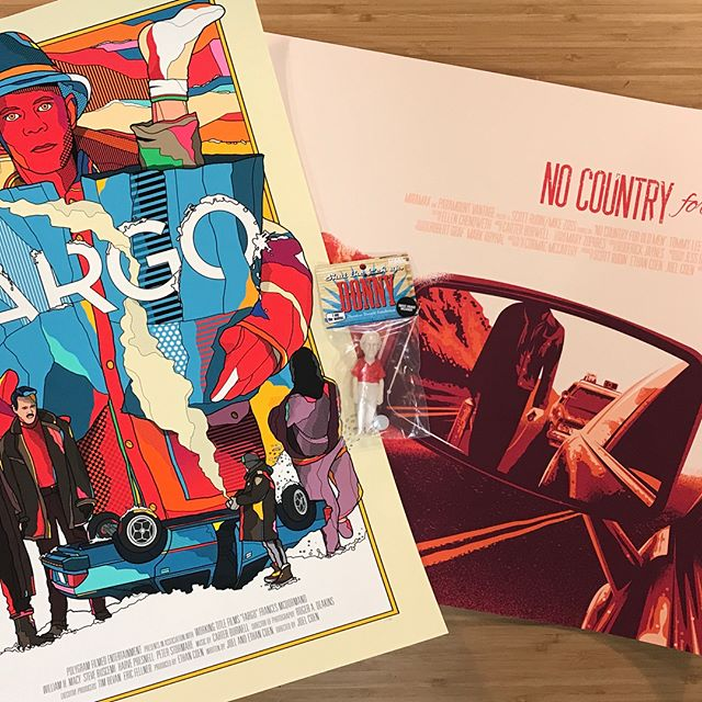 "My haul from the O Coen, Where Art Thou show @spoke_art. ""Fargo"" by @vanortondesign, ""Would You Hold Still, Please, Sir?"" By @tommypocket and ""Donny"" figure by @codeczombie"
