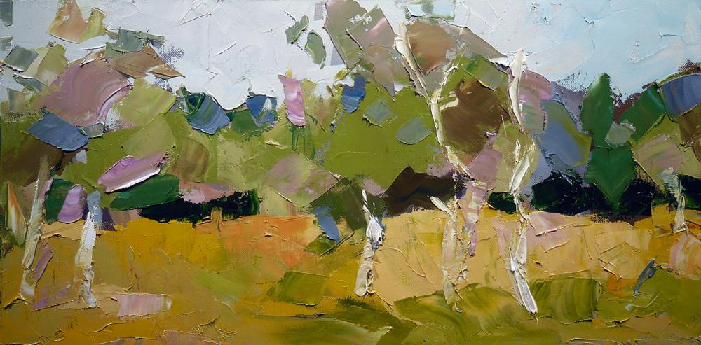 """Grassland,  2015 Oil, 12"""" x 24"""" Sold"""