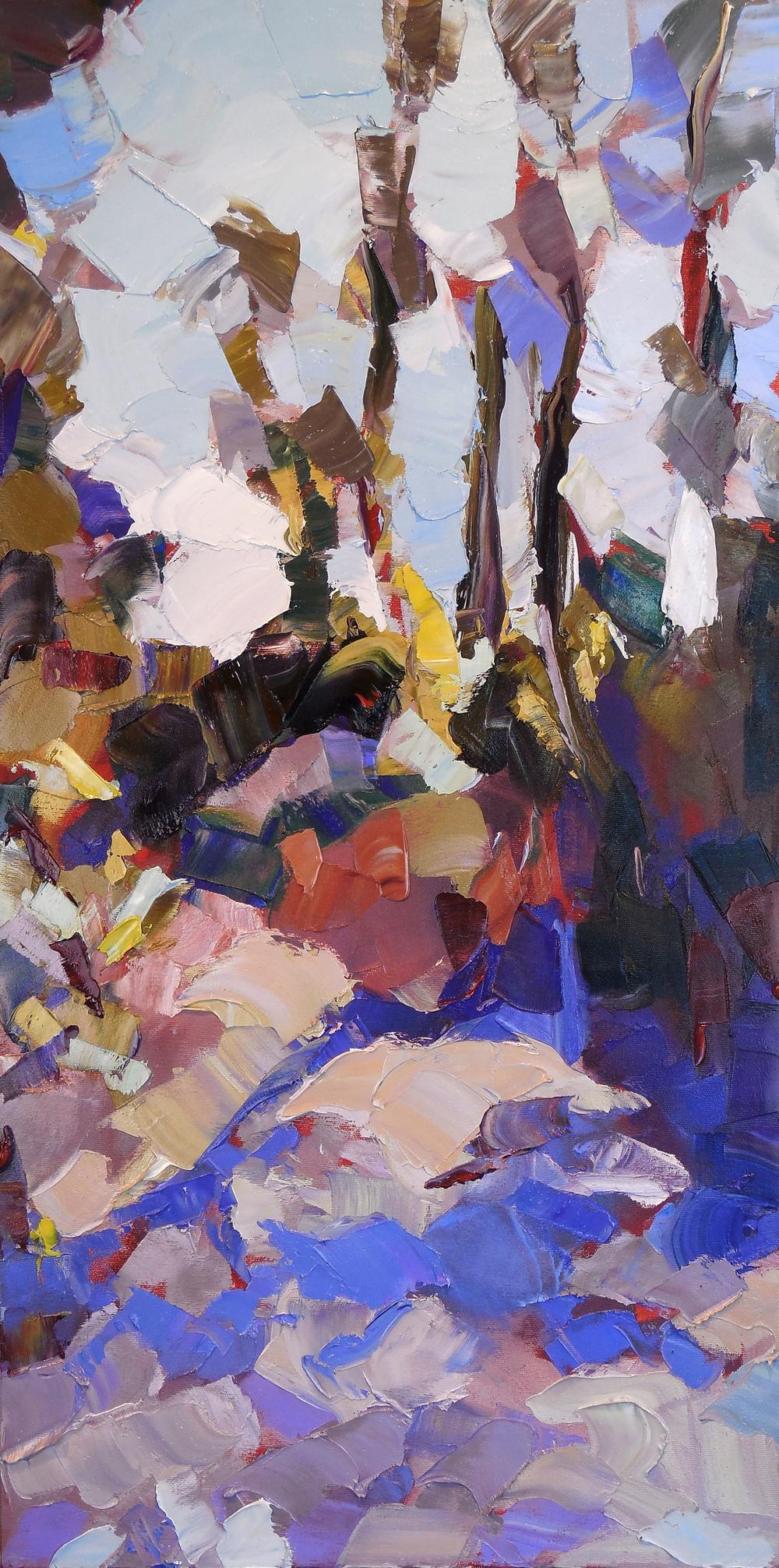 "Windy Violet,  2014 Oil, 30"" x 15"""