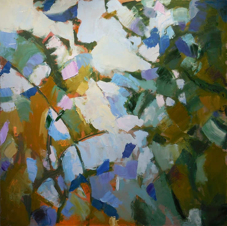 "Verbascum,  2015 Oil, 30"" x 30"" Private collection"