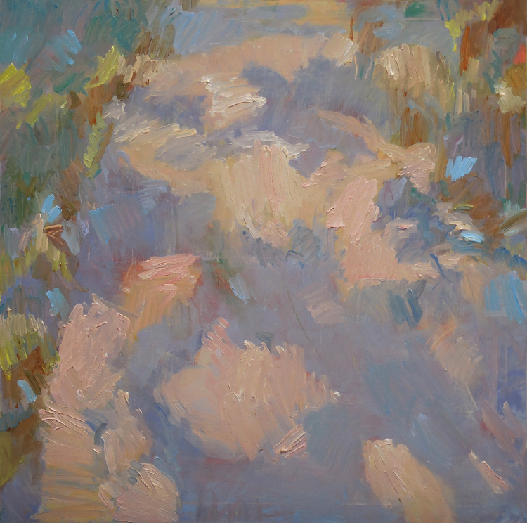 """Pink Dappled Path,  2015 Oil on Canvas, 30"""" x 30"""" Available"""