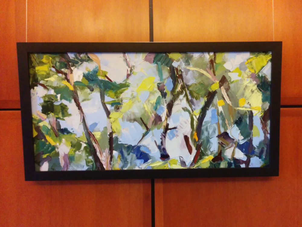 "Julie Devine, Chaos and Landscape, 2013, oil on canvas, 15"" x 30"""