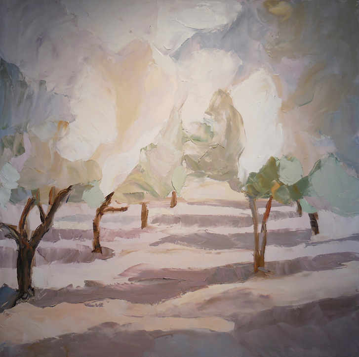 "Almond Orchard , 2016 Oil on canvas, 40"" x 40"" Available"