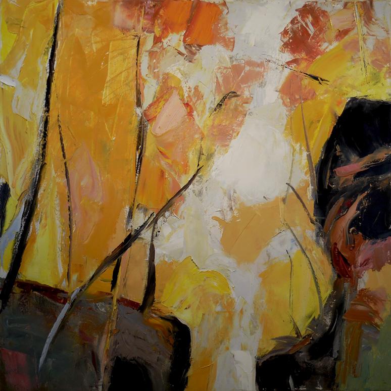 "Rift,  2016 Oil on canvas, 40 x 40"" Available through  Gray Sky Gallery"