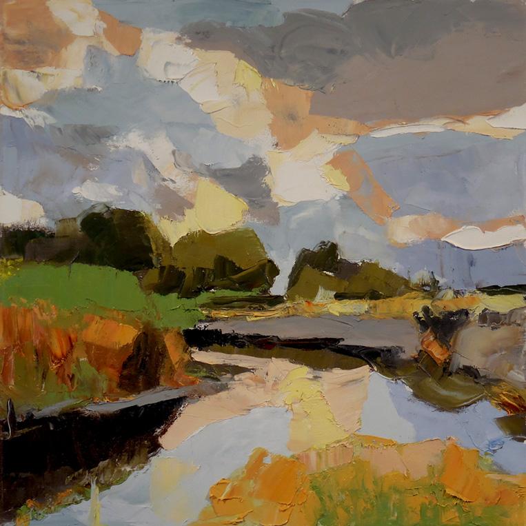 "Autumn Marsh , 2016 Oil on canvas, 20 x 20"" Available"