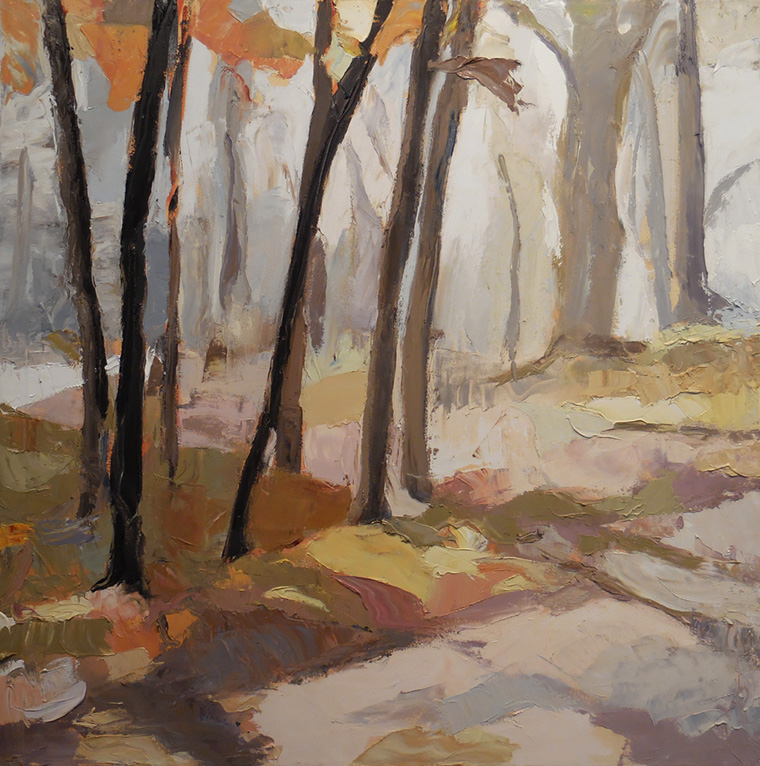 """Woodland , 2017 Oil on canvas, 30 x 30"""" Sold"""