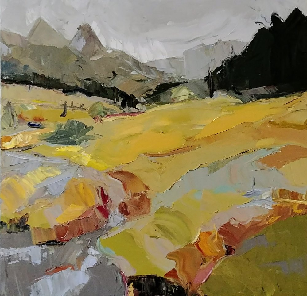 "Alpine Field , 2017 Oil on canvas, 36 x 36"" Available through  Gray Sky Gallery"