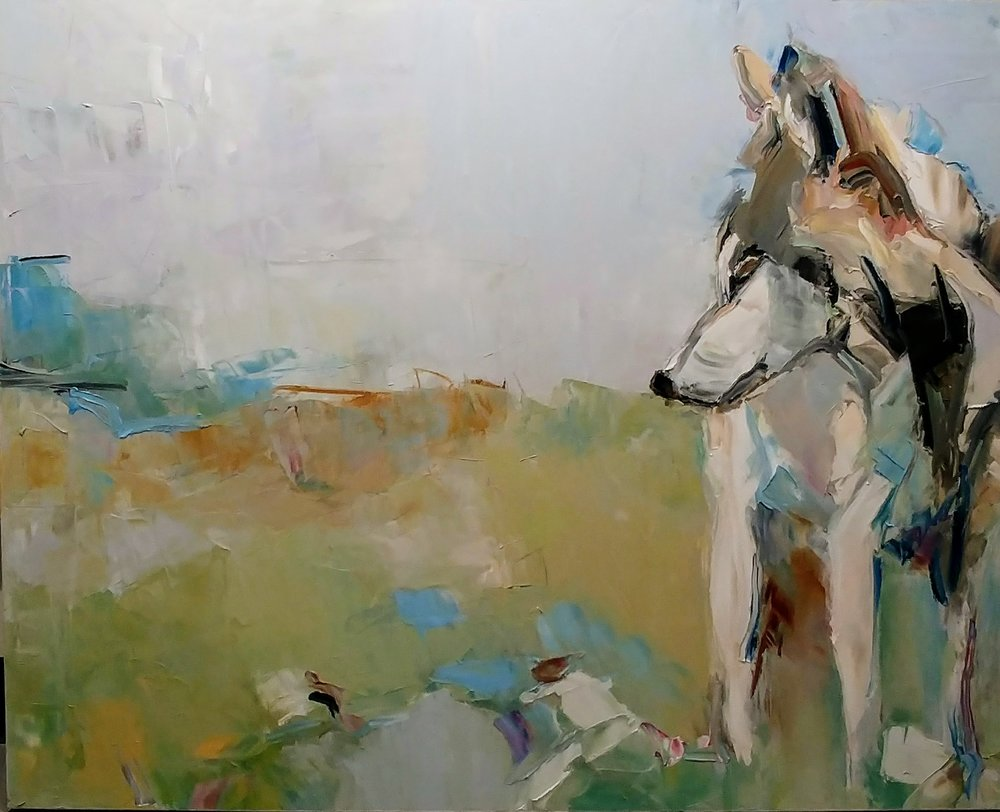 """Spring Wolf,  2018 Oil on canvas, 48 x 60"""" Available"""