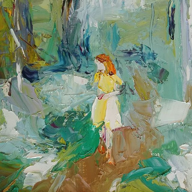 """Girl in Yellow Dress,  2018 Oil on board, 12 x 12"""" Available"""
