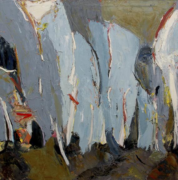 "White Bark , 2018 Oil on canvas, 40 x 40"" Available"