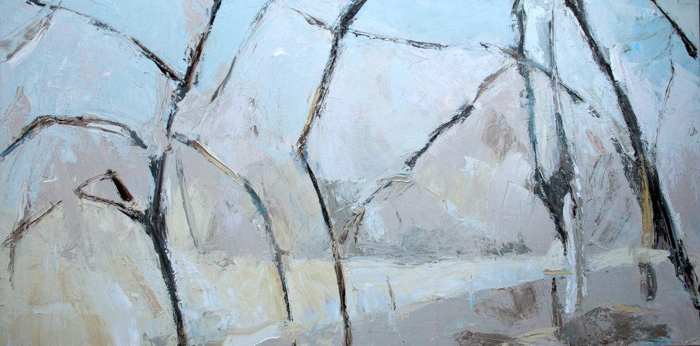 "Sacred Land,  2018 Oil on canvas, 36 x 72"" Available"