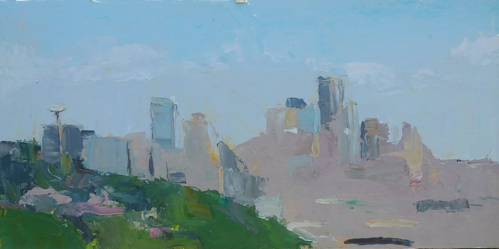 """April High Noon View from Ella Bailey Park, Seattle , 2019 Oil on canvas board, 12 x 24"""" Available ->  Inquire"""