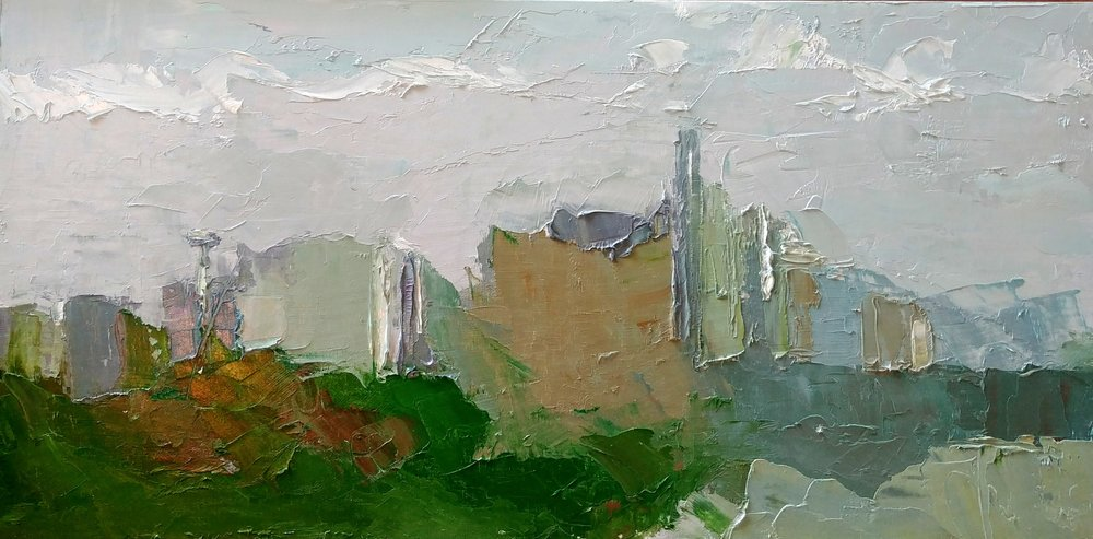 """May Afternoon View from Ella Bailey Park, Seattle,  2019 Oil on canvas board, 12 x 24"""" Available ->  Inquire"""
