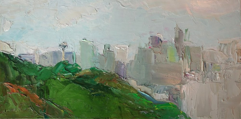 """May Evening View from Ella Bailey Park, Seattle, 2019 Oil on canvas board, 12 x 24"""" Available ->  Inquire"""