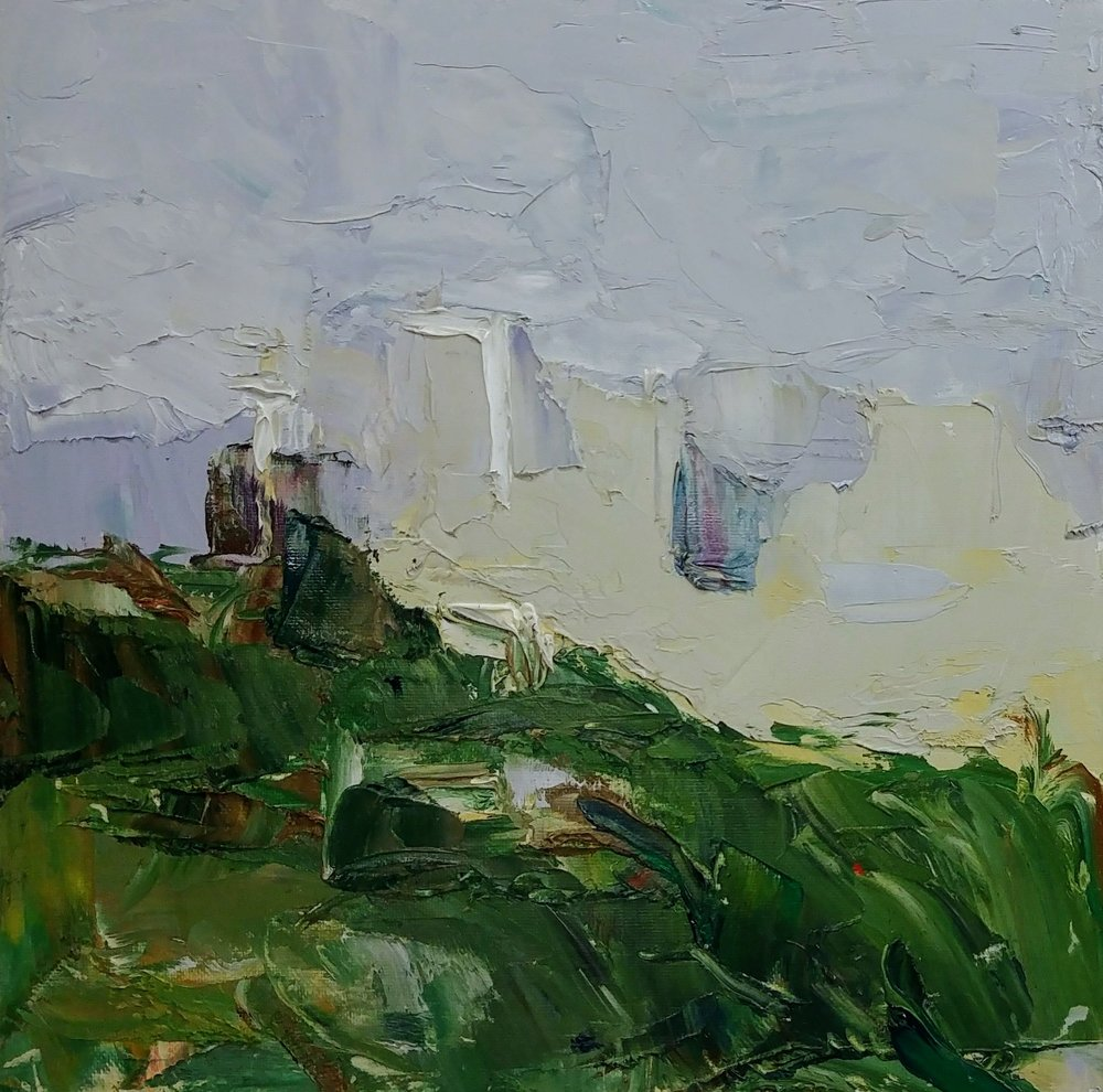 """April Overcast View from Ella Bailey Park, Seattle, Part 1,  Seattle"""" Oil on canvas board, 12 x 12"""" Available ->  Inquire"""