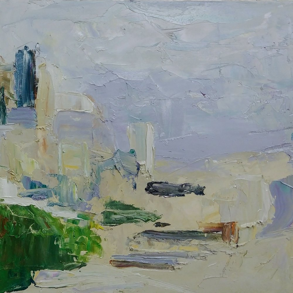 """April Overcast View from Ella Bailey Park, Seattle, Part 2,  2019 Oil on canvas board, 12 x 12"""" Available ->  Inquire"""
