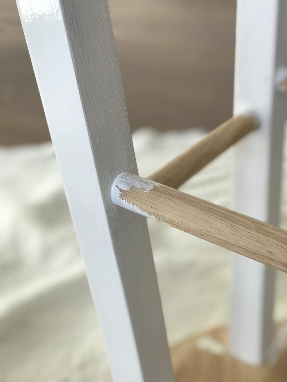 Paint legs and rungs with two coats.