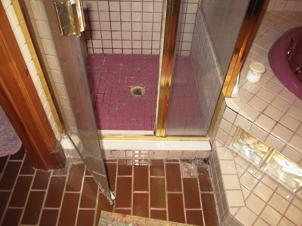 The right lower wall was soaked every time someone took a shower.