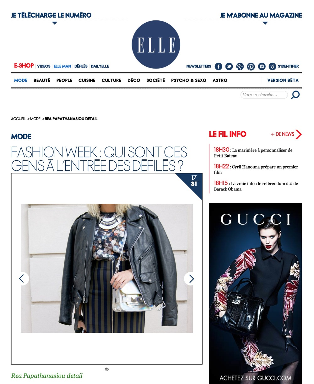Elle france     Paris fashion week- Sept 2013