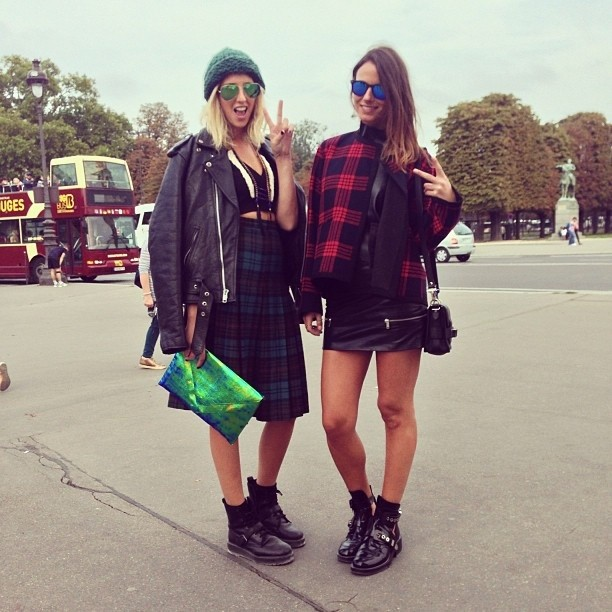 matchy matchy with my babe @zinafashionvibe after the acne show at pont Alexandre III