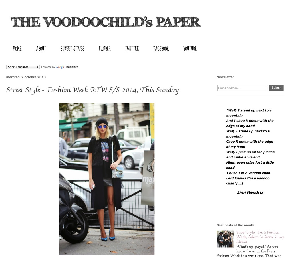 The voodoo's child paper   Paris fashion week  Sept 2013
