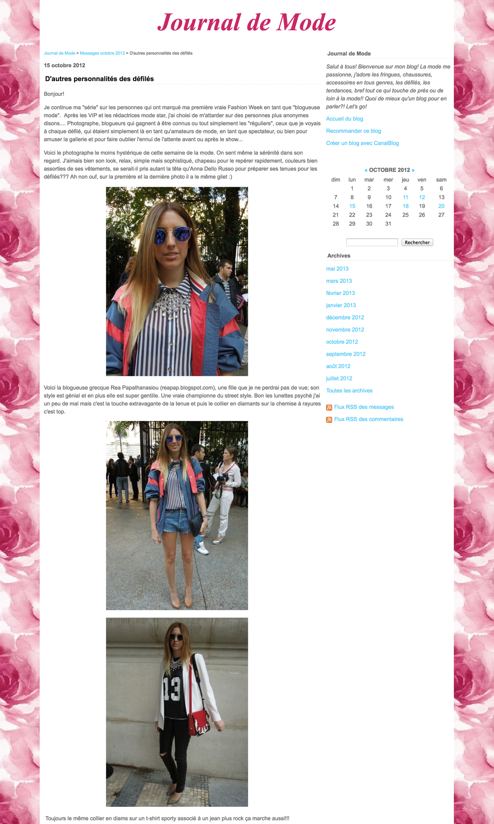 Journal de mode   Paris fashion week  October 2012