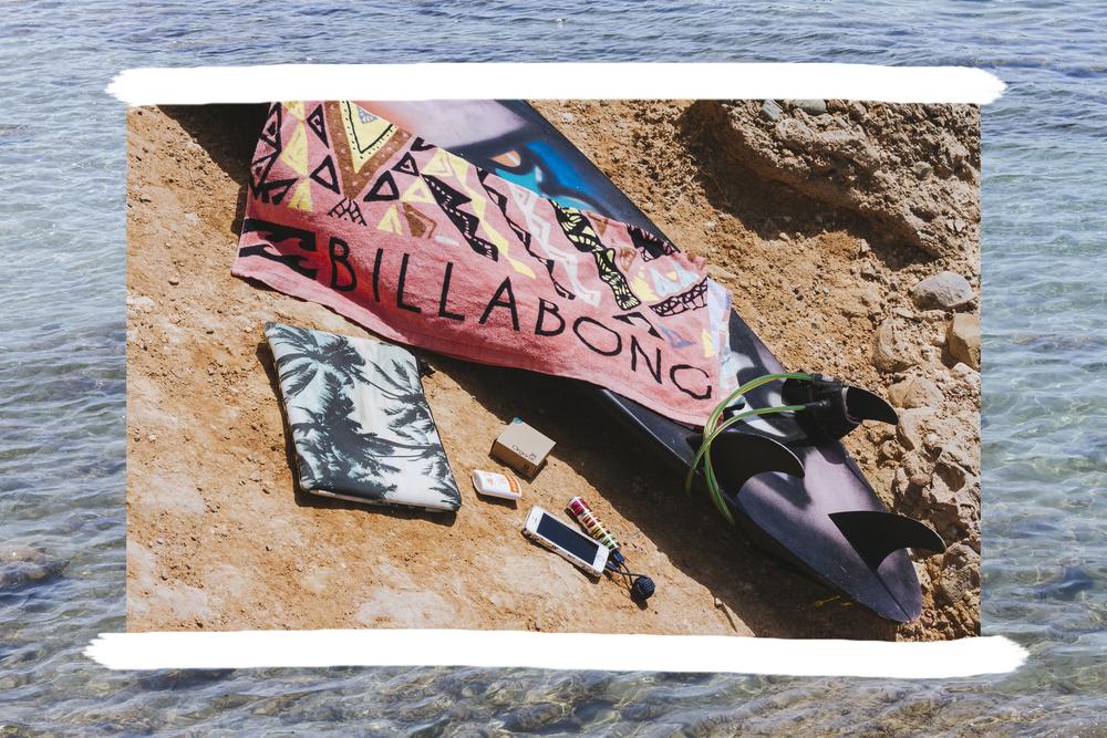 beach towel: billabong  • sunscreen stick: billabong  • power bank: puro greece