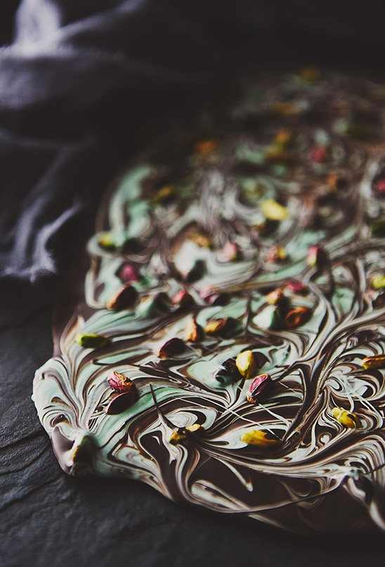 Dark Chocolate Mint Pistachio Bark