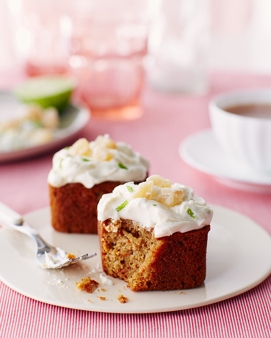 Honey Ginger Carrot Cakes with Lime Cream Cheese Frosting