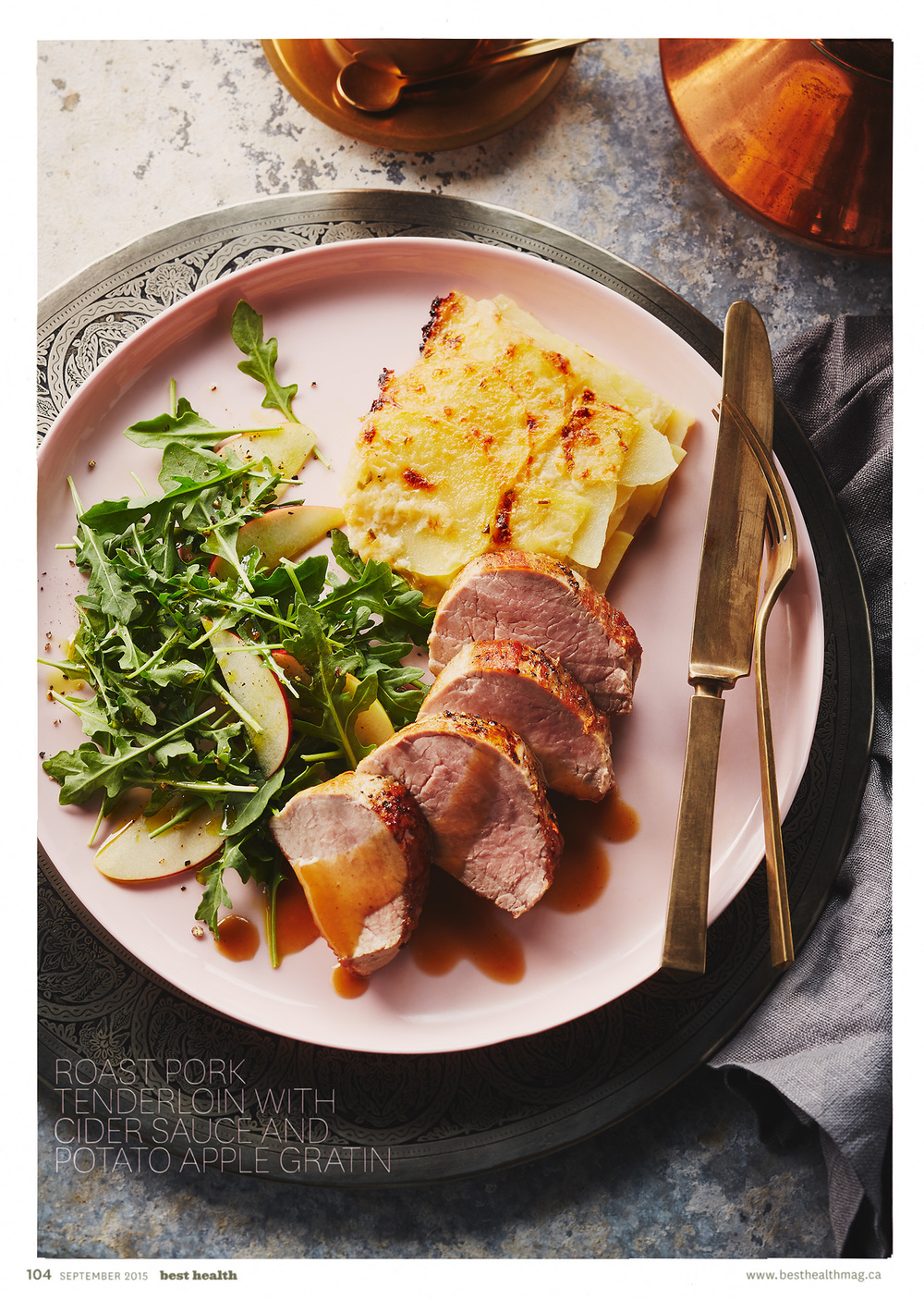 Roast pork tenderloin with cider sauce and potato apple gratin