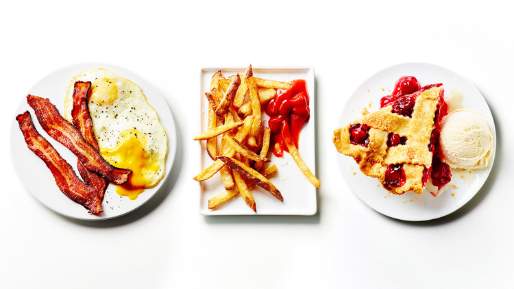 Better together - love the concept here.   Bacon & eggs - fries & ketchup - cherry pie & ice cream. This is another simple shot in terms of composition and propping, but the vibrancy of colour in the food makes it work for me.