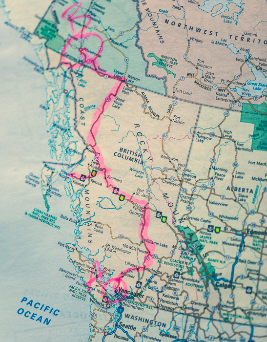 The Route - what the map doesn't show is how I came back.  From Watson Lake I took highway 97 instead of coming back down 37.