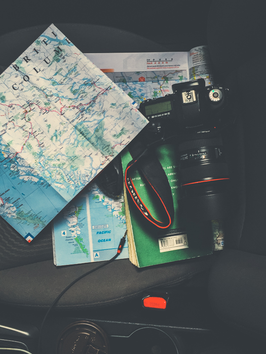 The passenger seat - maps, Canon 5D MKIII with 24-70mm 2.8 Lens & one of my favourite books - Zen and the Art of Motorcycle Maintenance.