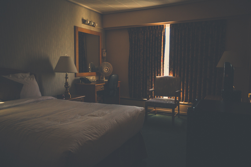 My hotel room in Whitehorse around 10pm -  Canon 5DMKIII 29mm - 1/400 @ f2.8, ISO 1600