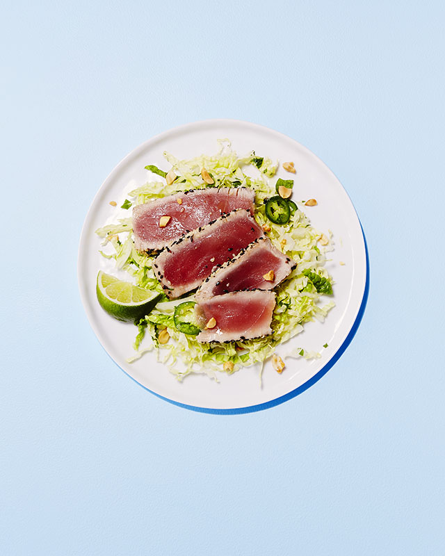 Grilled Sesame Tuna over Napa Cabbage Slaw