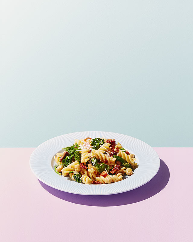 Fusilli with Sun-Dried Tomatoes, Spinach & Kale