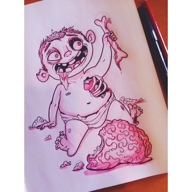 Last day of #inktober! Happy #Halloween everyone! This #baby #zombie hopes you get lots of candy and/or brains! #ink #draw #drawing #sketch #sketching #sketchbook #illustration #art #artistsontumblr #doodle #characterdesign #undead #portland #pdx (at Rocking Frog Cafe)