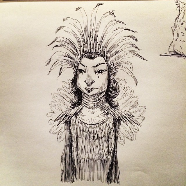 Got back to Portland and was greeted by the flu. Now I'm bundled up on the couch sketching. Wee! #sketch #sketchbook #illustration #art #pen #ink #drawing #draw #artwork #doodle #native #feathers #fluseason #flu #portland #pdx #waterandsaltinesallday
