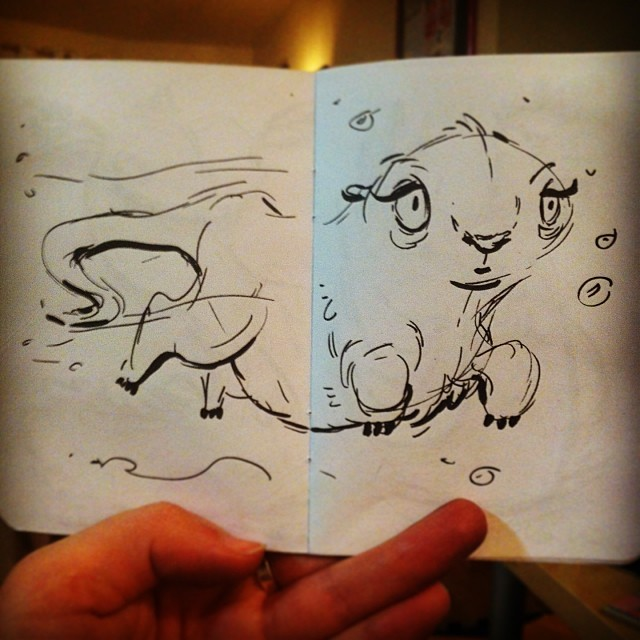 Behold! An otter thing. #doodle #sketch #sketchbook #drawing #draw #ink #pen #brush #illustration #otter #cute #character #art #animal #portland #pdx #everythingiscuterwhenitsfat