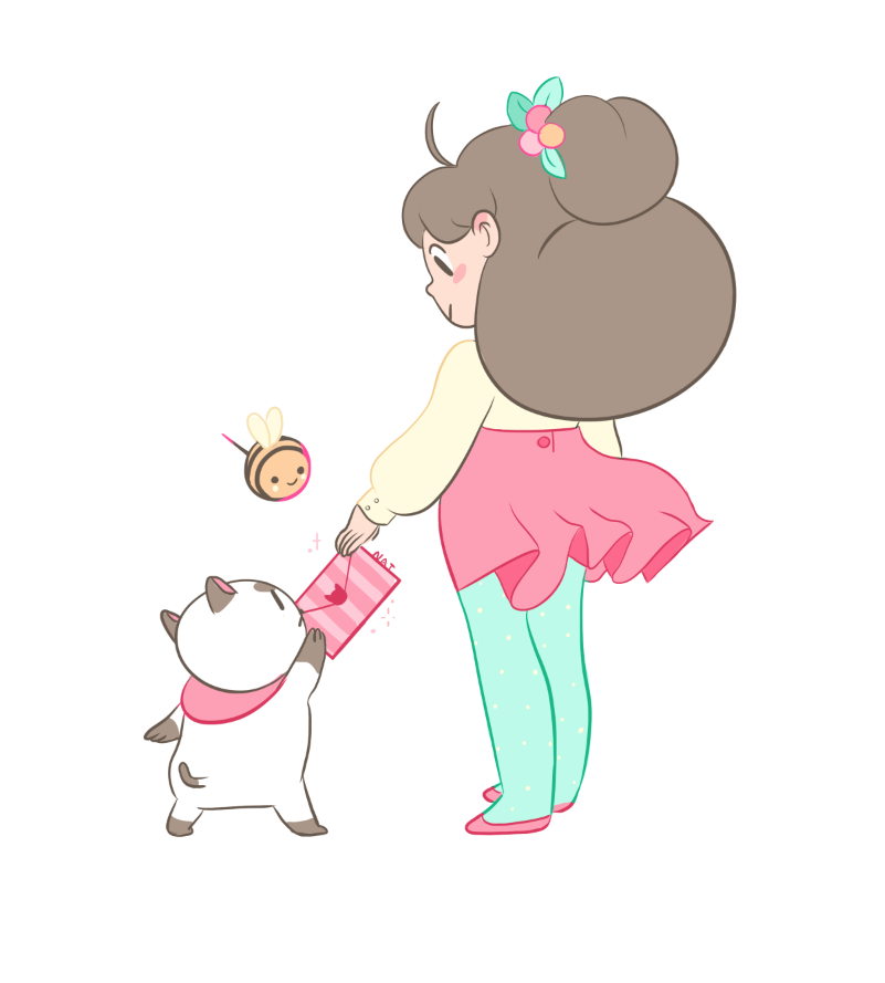 natazilla :      7 days left    thank you to everyone who donated to the  puppycat kickstarter . all the support is overwhelming and everyone is so sweet about it. I'm gonna be posting a drawing every day till it's over.     i backed this project, and you absolutely should too! go bee & puppycat!