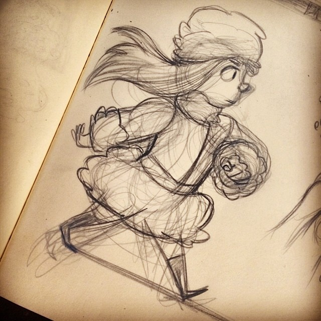 New year, new sketch! #sketch #doodle #drawing #illustration #art #sketchbook #design #visdev #characterdesign #character #girl #winter #animation #portland #pdx #ladedaaa