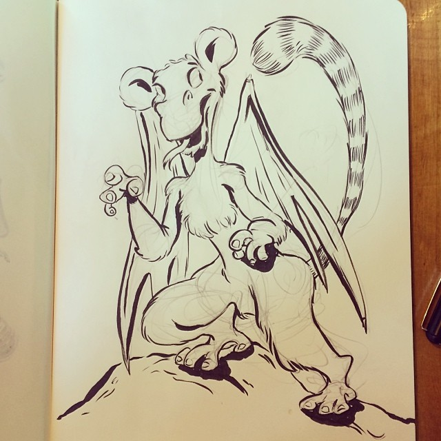At brunch, @walnutbear requested a drawing of a lemur dragon. This was the result. #lemur #dragon #drawing #illustration #sketch #artistworkout #sketchbook #art #pen #pentel #ink #cartoon #animation #characterdesign #character #draw #doodle #portland #pdx (at Tin Shed)