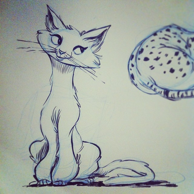 Another #kitty #sketch. #drawing #ink #pentel #pen #doodle #cat #cute #illustration #art #draw #sketchbook #kitten #portland #pdx #kindalookslikeagorilla?
